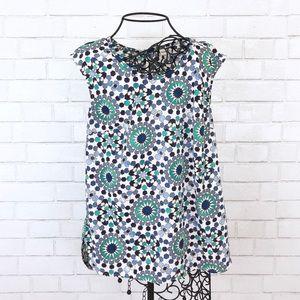 Merona Blue & Green Printed Sleeveless Top